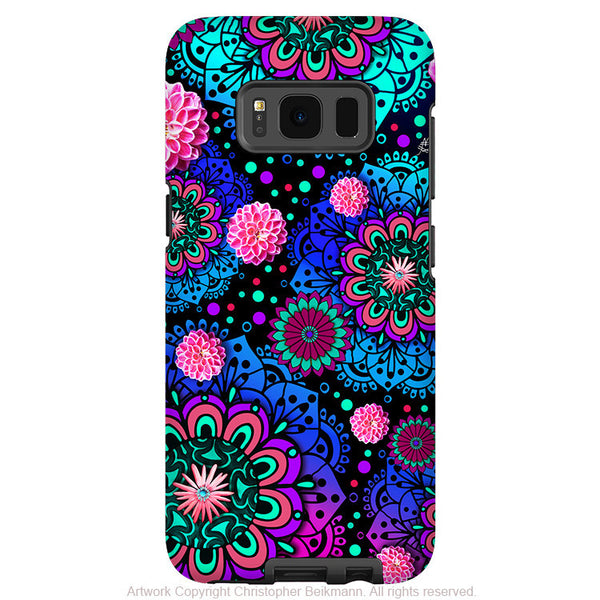 Colorful Modern Paisley - Artistic Samsung Galaxy S8 Tough Case - Dual Layer Protection - frilly floratopia - Fusion Idol Arts