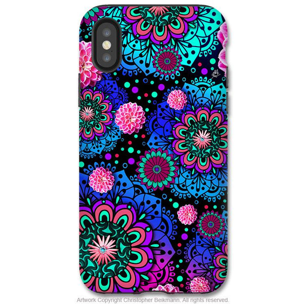 Frilly Floratopia - iPhone X / XS / XS Max / XR Tough Case - Dual Layer Protection for Apple iPhone 10 - Colorful Paisley Art Case - iPhone X Tough Case - Fusion Idol Arts - New Mexico Artist Christopher Beikmann