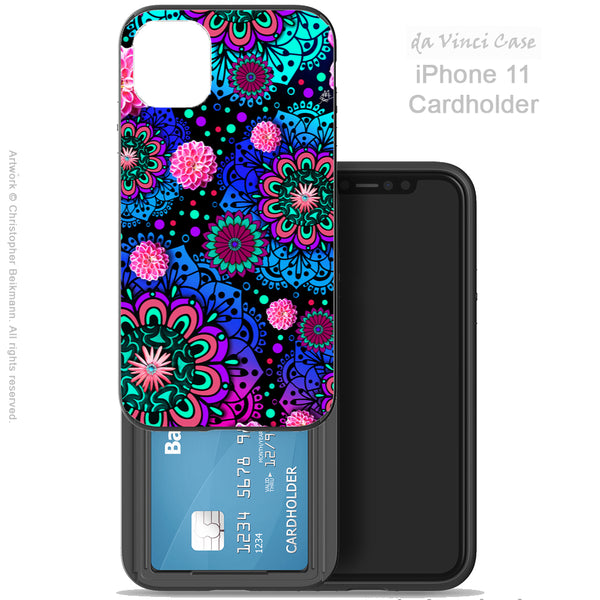 Frilly Floratopia - iPhone 11 / 11 Pro / 11 Pro Max Card Holder Case - Wallet Compartment Case