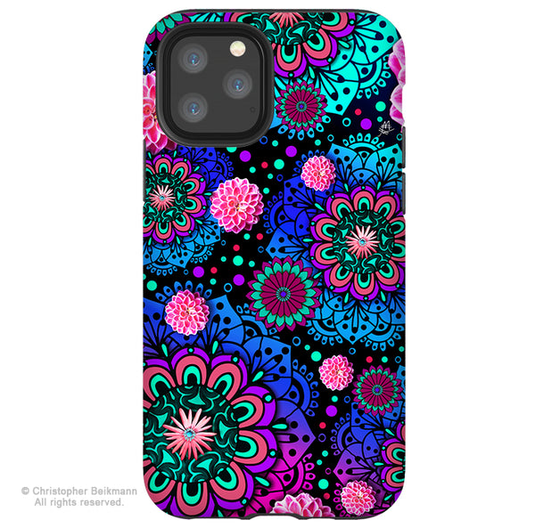 Frilly Floratopia- iPhone 12 / 12 Pro / 12 Pro Max / 12 Mini Tough Case Tough Case - Dual Layer Protection for Apple iPhone Blue and Pink Paisley Art Case