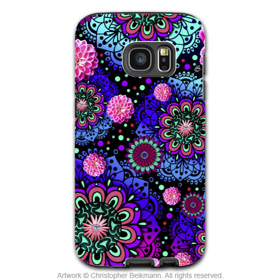 Wild Paisley Galaxy S7 Edge Tough Case - Frilly Floratopia - Pink and Blue Paisley Samsung Galaxy S7 EDGE TOUGH Case - Galaxy S7 EDGE TOUGH Case - 1