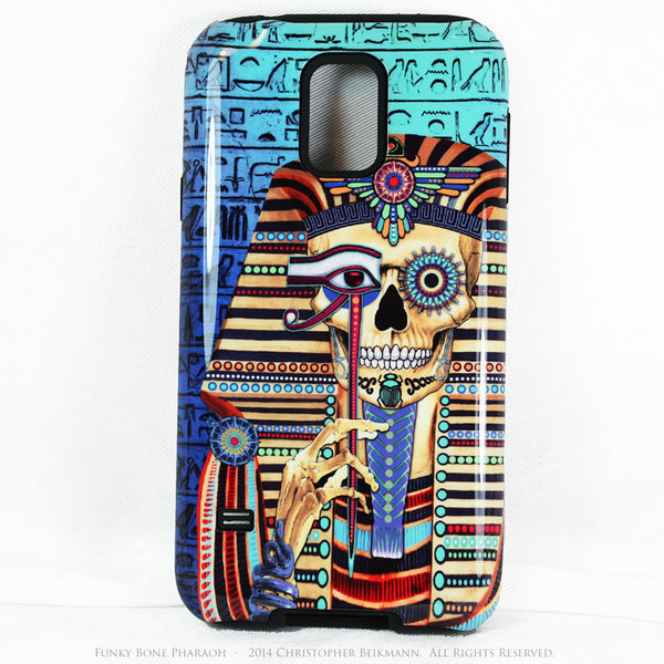 "Egyptian Skull Galaxy S5 case - ""Funky Bone Pharaoh"" - Egypt Inspired Sugar Skull S5 case - Galaxy S5 TOUGH Case - 1"