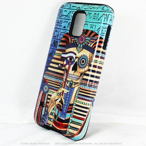"Egyptian Skull Galaxy S5 case - ""Funky Bone Pharaoh"" - Egypt Inspired Sugar Skull S5 case - Galaxy S5 TOUGH Case - 2"