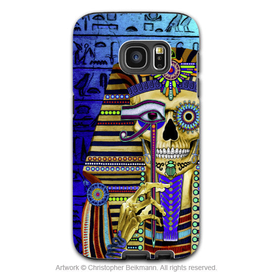 Egyptian Sugar Skull Galaxy S7 Case - Funky Bone Pharaoh - Colorful Egypt Inspired Skull Case for Galaxy S7