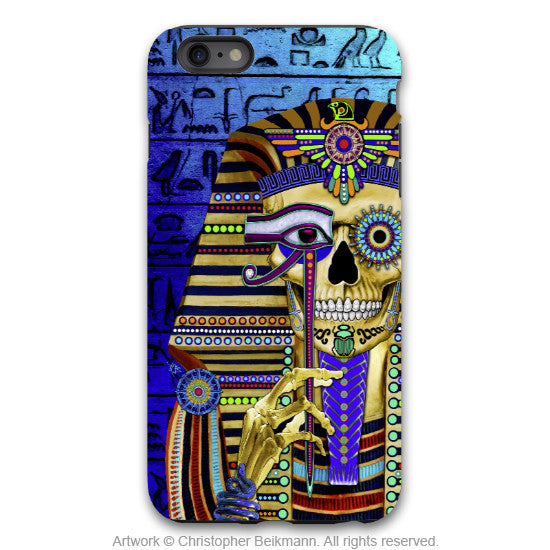 "Egyptian Skull iPhone 6 6s Plus Case - ""Funky Bone Pharaoh"" - Egypt sugar skull case - Artistic Case for iPhone 6 6s Plus - iPhone 6 6s Plus Tough Case - 1"