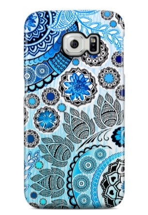 Blue Indian Paisley Galaxy S6 Edge CLIP Case - Blue Mehndi - Modern Floral Galaxy S6 Edge case - SPECIAL ORDER