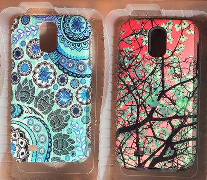 Galaxy S4 cases - Premium Tough Case - Aqua Blooms and Blue Mehndi - Galaxy S4 TOUGH Case - 1