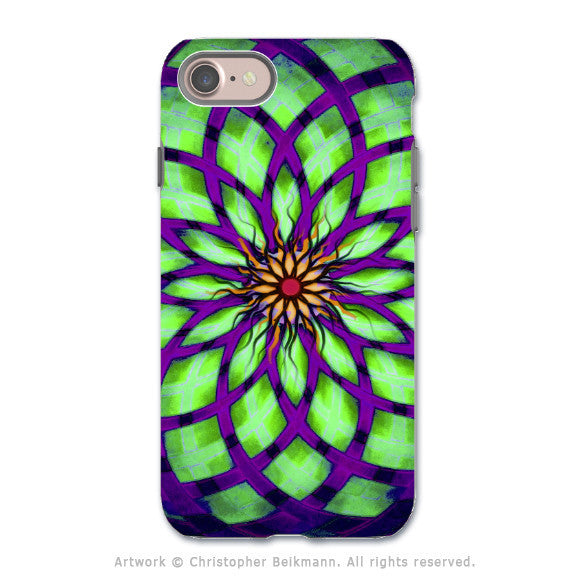 Lime Green Lotus Flower - Artistic iPhone 7 Tough Case - Dual Layer Protection - Lime Kalotuscope - iPhone 7 Tough Case - 1