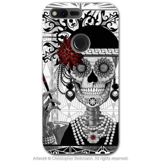 Flapper Girl Sugar Skull - Artistic Google Pixel Tough Case - Dual Layer Protection - mrs gloria vanderbone