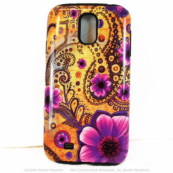 Golden Paisley Paradise Galaxy S4 TOUGH case - Purple and yellow Paisley Floral Case - Galaxy S4 TOUGH Case - 1