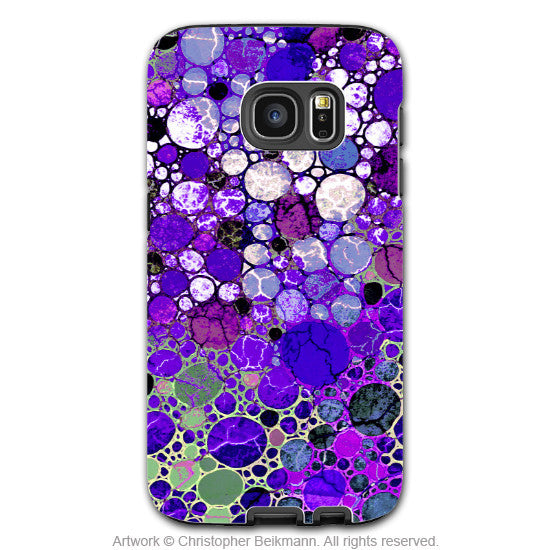 Purple Bubble Abstract - Artistic Galaxy S6 EDGE TOUGH Case - Dual Layer Protection - Grape Bubbles - Galaxy S6 Edge Tough Case - 1