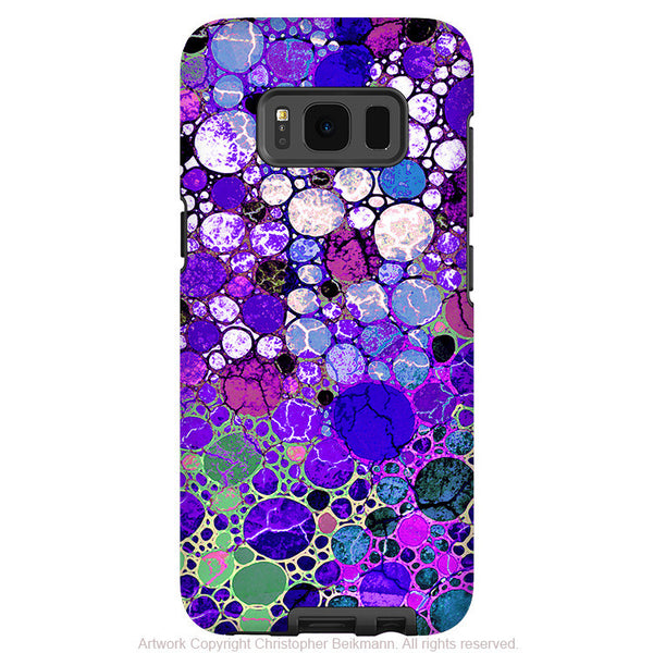 Purple Bubble Abstract - Artistic Samsung Galaxy S8 Tough Case - Dual Layer Protection - grape bubbles - Fusion Idol Arts