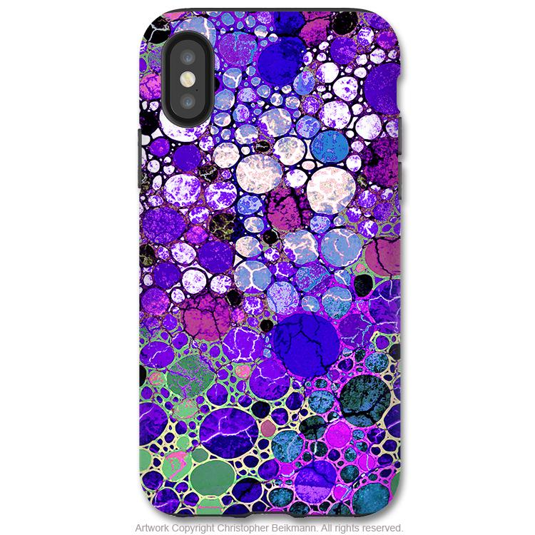 more photos 3213f 5b5af Grape Bubbles - iPhone X / XS / XS Max / XR Tough Case - Dual Layer  Protection for Apple iPhone 10 - Purple Abstract Art Case