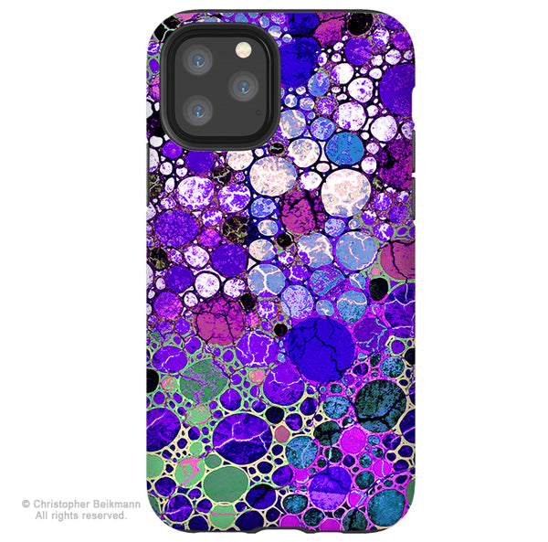 Grape Bubbles - iPhone 11 / 11 Pro / 11 Pro Max Tough Case - Dual Layer Protection for Apple iPhone XI - Purple Abstract Art Case