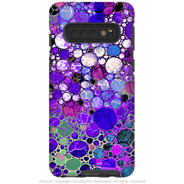 Grape Bubbles - Galaxy S10 / S10 Plus / S10E Tough Case - Dual Layer Protection - Purple and Green Abstract