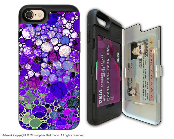 Purple Bubble Abstract - Artistic Apple iPhone 7 Card Holder Case - Protective Wallet Case - grape bubbles - iPhone 7 Card Holder Case - Fusion Idol Arts - New Mexico Artist Christopher Beikmann