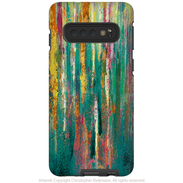 Green Abstractus - Galaxy S10 / S10 Plus / S10E Tough Case - Dual Layer Protection - Colorful Abstract Art Case