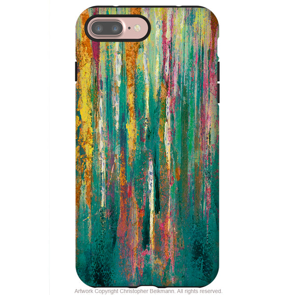 Green Abstractus - Artistic iPhone 7 PLUS Tough Case - Dual Layer Protection - Teal Green, Yellow and Orange Abstract Art Case