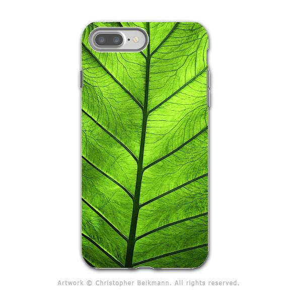 Tropical Green Leaf - Artistic iPhone 7 PLUS Tough Case - Dual Layer Protection - Leaf of Knowledge - iPhone 7 Plus Tough Case - Fusion Idol Arts - New Mexico Artist Christopher Beikmann