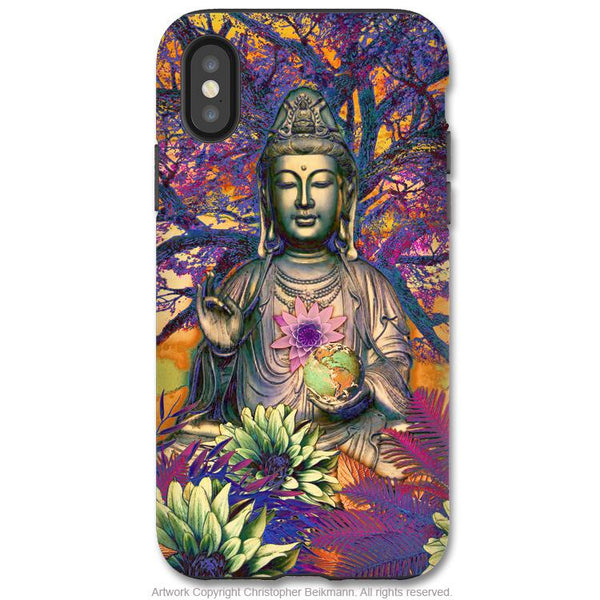 Healing Nature Kwan Yin - iPhone X / XS / XS Max / XR Tough Case - Dual Layer Protection for Apple iPhone 10 - Colorful Buddhist Goddess Art Case - iPhone X Tough Case - Fusion Idol Arts - New Mexico Artist Christopher Beikmann