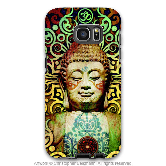 Colorful Tribal Buddha - Artistic Galaxy S6 EDGE TOUGH Case - Dual Layer Protection - Heart of Transcendence - Galaxy S6 Edge Tough Case - 1
