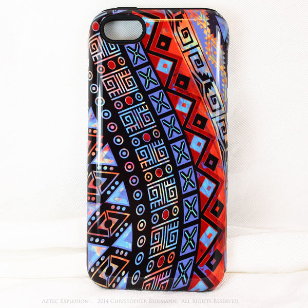 "Abstract Tribal iPhone 5c TOUGH Case - Red - Orange Blue - ""Aztec Explosion"" - Dual Layer Case by Da Vinci Case - iPhone 5c TOUGH Case - 1"