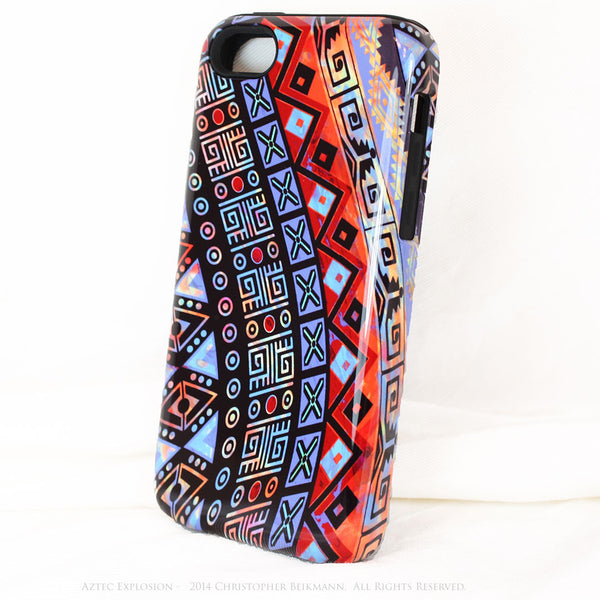 "Abstract Tribal iPhone 5c TOUGH Case - Red - Orange Blue - ""Aztec Explosion"" - Dual Layer Case by Da Vinci Case - iPhone 5c TOUGH Case - 2"