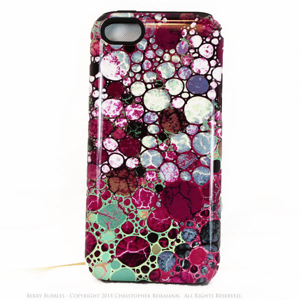 Abstract iPhone 5s SE TOUGH Case - Berry Bubbles - Burgundy and Green - Dual Layer Case by Da Vinci Case - iPhone 5 TOUGH Case - 1