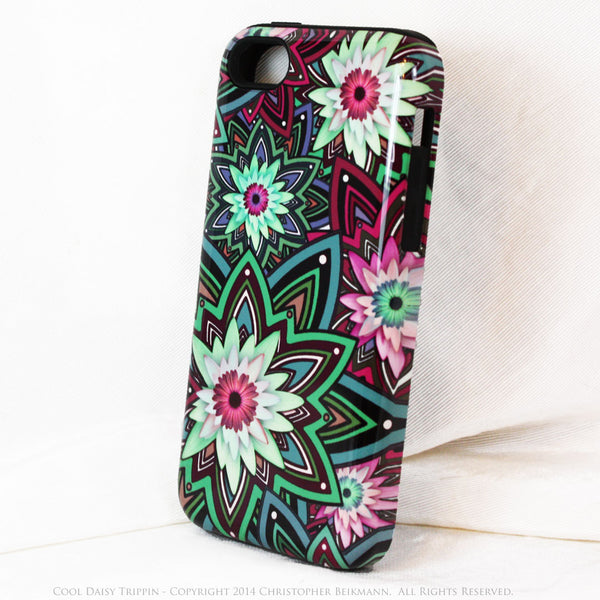 Purple and Green Floral iPhone 5c TOUGH Case - Cool Daisy Trippin - Geometric Daisy Flower Dual Layer iPhone Case - iPhone 5c TOUGH Case - 2