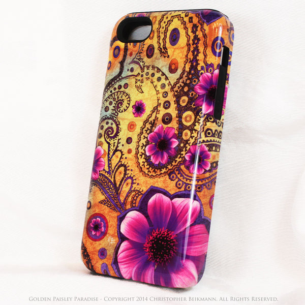Yellow Paisley iPhone 5c TOUGH Case - Golden Paisley Paradise - Floral Dual Layer iPhone Case - iPhone 5c TOUGH Case - 2