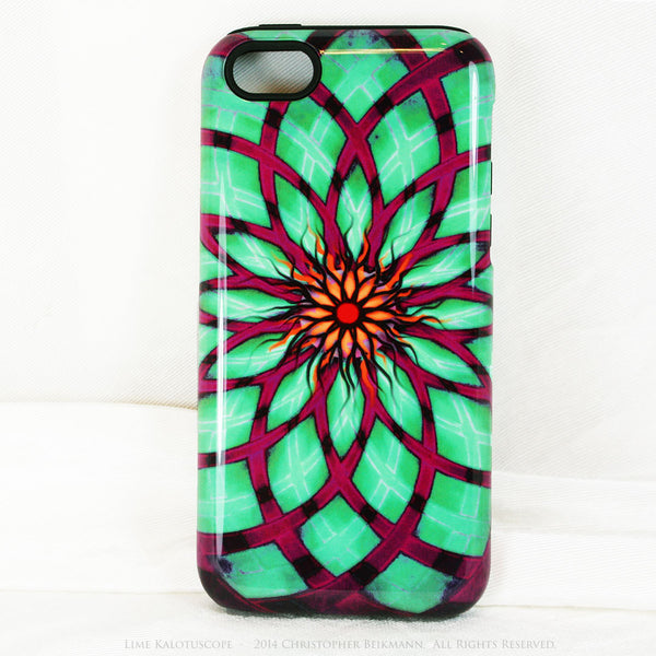 Lime Green and Purple Geometric iPhone 5c TOUGH Case - Lime Kalotuscope - Abstract Lotus Flower Dual Layer iPhone Case - iPhone 5c TOUGH Case - 1
