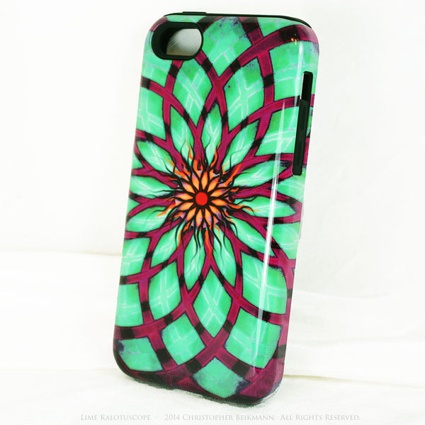 Lime Green and Purple Geometric iPhone 5c TOUGH Case - Lime Kalotuscope - Abstract Lotus Flower Dual Layer iPhone Case - iPhone 5c TOUGH Case - 2