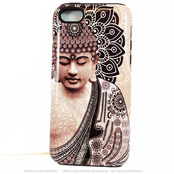 "Tan Paisley Buddha iPhone 5s SE TOUGH Case - Unique Buddhist Art ""Meditation Mehndi"" Zen Yoga iPhone 5s SE Case - iPhone 5 TOUGH Case - 1"
