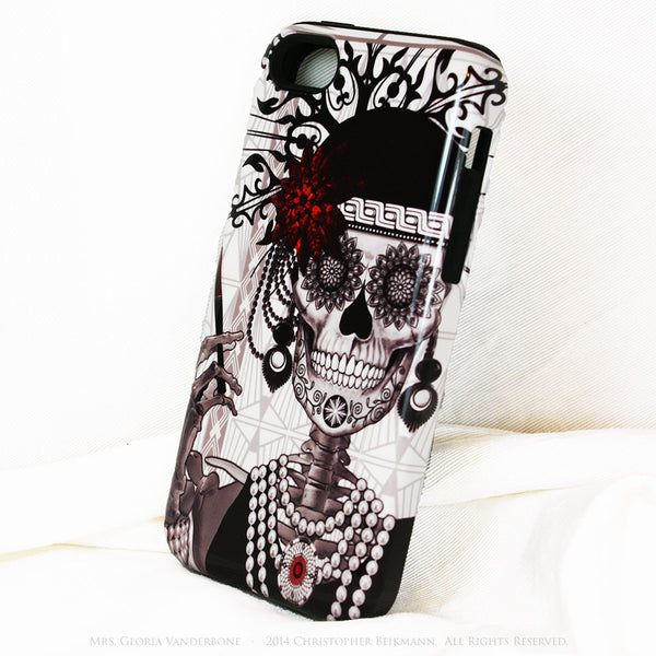 Flapper Girl Skull iPhone 5c TOUGH Case - 1920s Art Deco Sugar Skull iPhone Case - Day of the Dead - Artistic Case For iPhone 5c - iPhone 5c TOUGH Case - 2