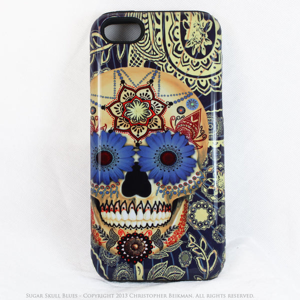 Blue Skull iPhone 5c TOUGH Case - Sugar Skull Blues - Dia De Los Muertos dual layer iPhone case - iPhone 5c TOUGH Case - 1