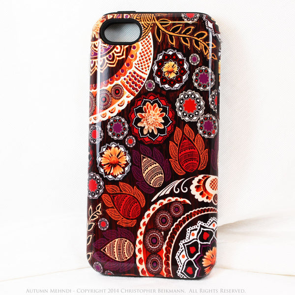 Paisley iPhone 5s SE TOUGH Case - Autumn Mehndi - Orange, Pink, Purple and Brown Paisley Floral - Unique iPhone 5s SE Case - iPhone 5 TOUGH Case - 1