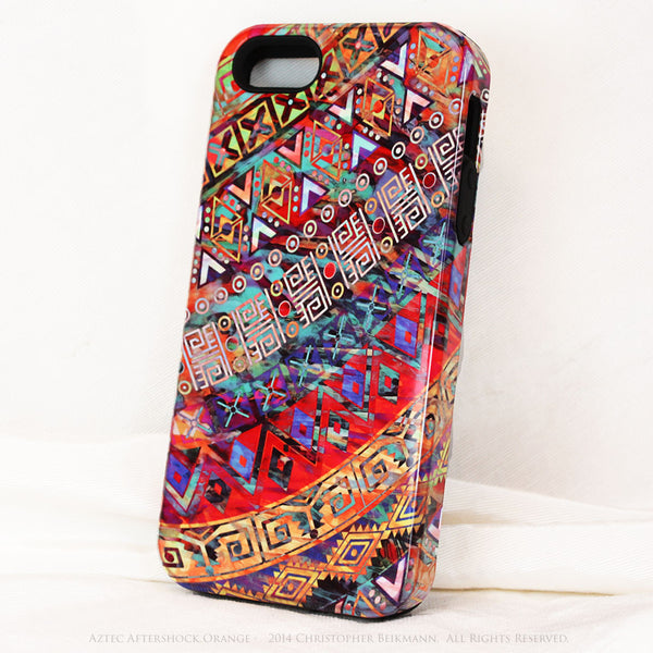 "Orange Tribal iPhone 5s SE TOUGH Case - Tribal Abstract Art - ""Aztec Aftershock Orange"" - Dual Layer Case by Da Vinci Case - iPhone 5 TOUGH Case - 2"