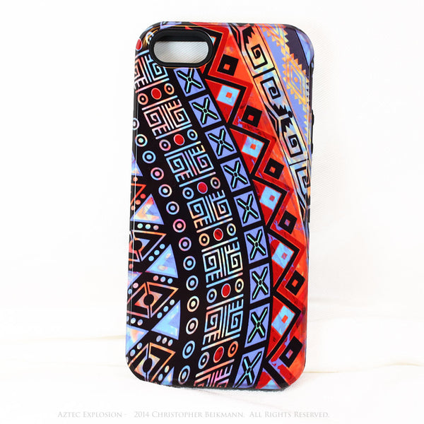 "Abstract Tribal iPhone 5s SE TOUGH Case - Red - Orange Blue - ""Aztec Explosion"" - Dual Layer Case by Da Vinci Case - iPhone 5 TOUGH Case - 1"