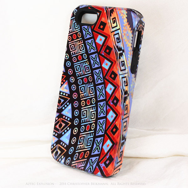 "Abstract Tribal iPhone 5s SE TOUGH Case - Red - Orange Blue - ""Aztec Explosion"" - Dual Layer Case by Da Vinci Case - iPhone 5 TOUGH Case - 2"