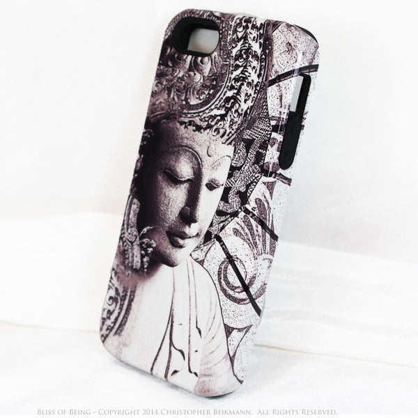 "Black and white Buddha iPhone 5c TOUGH Case - Unique Buddhist Art ""Bliss of Being"" Zen Meditation iPhone 5c Case - iPhone 5c TOUGH Case - 2"