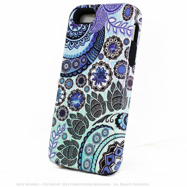Paisley iPhone 5s SE TOUGH Case - Blue Mehndi - Blue and White Paisley Floral - Artistic iPhone 5s SE Case - iPhone 5 TOUGH Case - 1