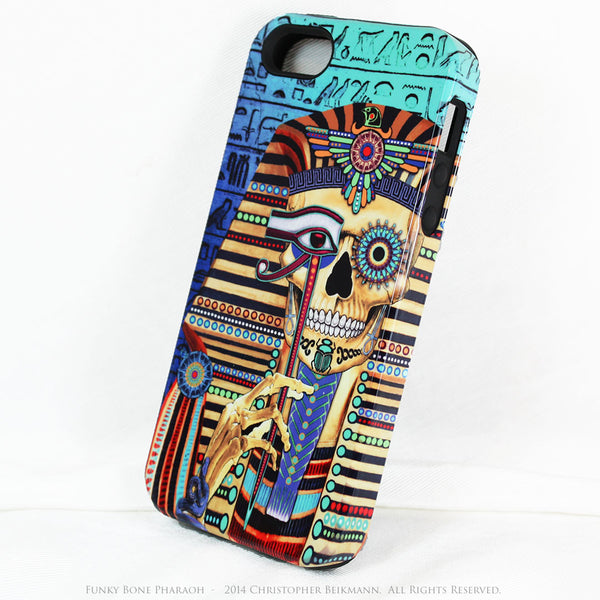 Egyptian Skull iPhone 5s SE Case - Funky Bone Pharaoh - Egypt Inspired Skull Case - Artistic Case For iPhone 5s SE - iPhone 5 TOUGH Case - 2