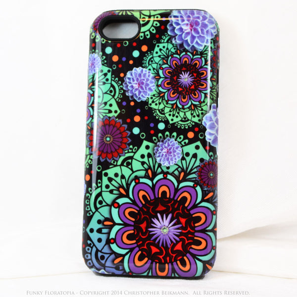 Green & Purple Floral iPhone 5s SE TOUGH Case - Funky Floratopia - Dual Layer Paisley iPhone 5s SE Case - iPhone 5 TOUGH Case - 1