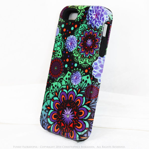 Green & Purple Floral iPhone 5s SE TOUGH Case - Funky Floratopia - Dual Layer Paisley iPhone 5s SE Case - iPhone 5 TOUGH Case - 2