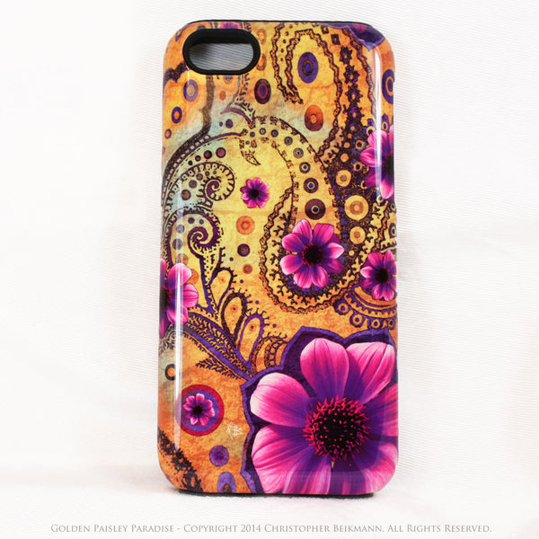 Paisley iPhone 5s SE TOUGH Case - Golden Paisley Paradise - Yellow and Purple Paisley Floral Art - Unique Case For iPhone 5s SE - iPhone 5 TOUGH Case - 1