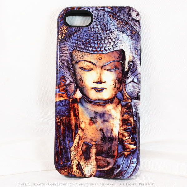 "Blue Buddha iPhone 5s SE TOUGH Case - Unique Buddhist Art ""Inner Guidance"" Zen Meditation iPhone 5s SE Case - Da Vinci Case - Artistic Cases for iPhone - 1"