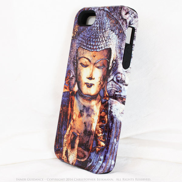 "Blue Buddha iPhone 5s SE TOUGH Case - Unique Buddhist Art ""Inner Guidance"" Zen Meditation iPhone 5s SE Case - Da Vinci Case - Artistic Cases for iPhone - 2"