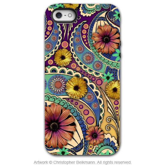 Colorful Paisley Daisy Art - Artistic iPhone 5 SE Tough Case - Dual Layer Protection - Petals and Paisley