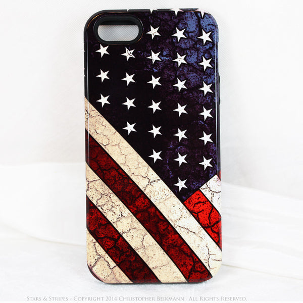 American Flag iPhone 5s SE TOUGH Case - Stars & Stripes - Distressed US Flag - Artistic Case For iPhone 5s SE - iPhone 5 TOUGH Case - 1