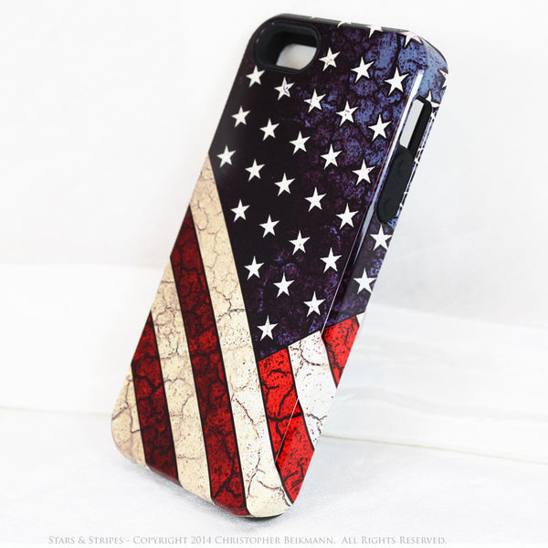 American Flag iPhone 5s SE TOUGH Case - Stars & Stripes - Distressed US Flag - Artistic Case For iPhone 5s SE - iPhone 5 TOUGH Case - 2